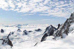 Panoramic high mountains climb lands