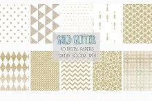 Gold Glitter Patterns digital paper