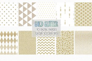Gold Glitter Patterns digital paper
