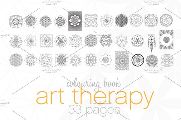 art therapy coloring book illustrations - Sacred Geometry Coloring Book