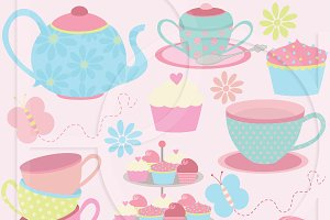 tea party clipart commercial use