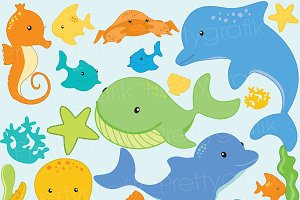 Sea animal clipart commercial use
