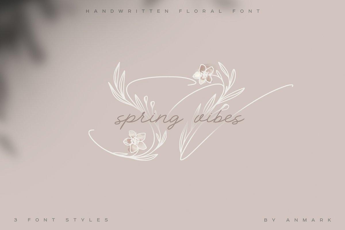Spring Vibes. Floral Font