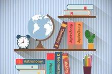 Bookshelves with textbooks