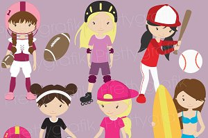 girl sports clipart commercial use