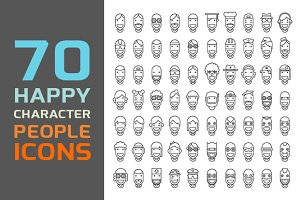 70 Happy Character People Icons