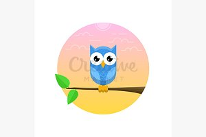 Blue owl on the branch