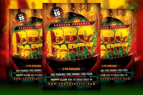 bbq party flyer flyer templates creative market