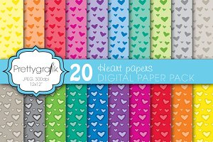 heart valentine digital paper