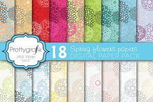 flower digital paper, commercial use