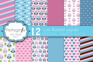 love owls digital paper, commercial