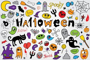 Doodle halloween holiday background.