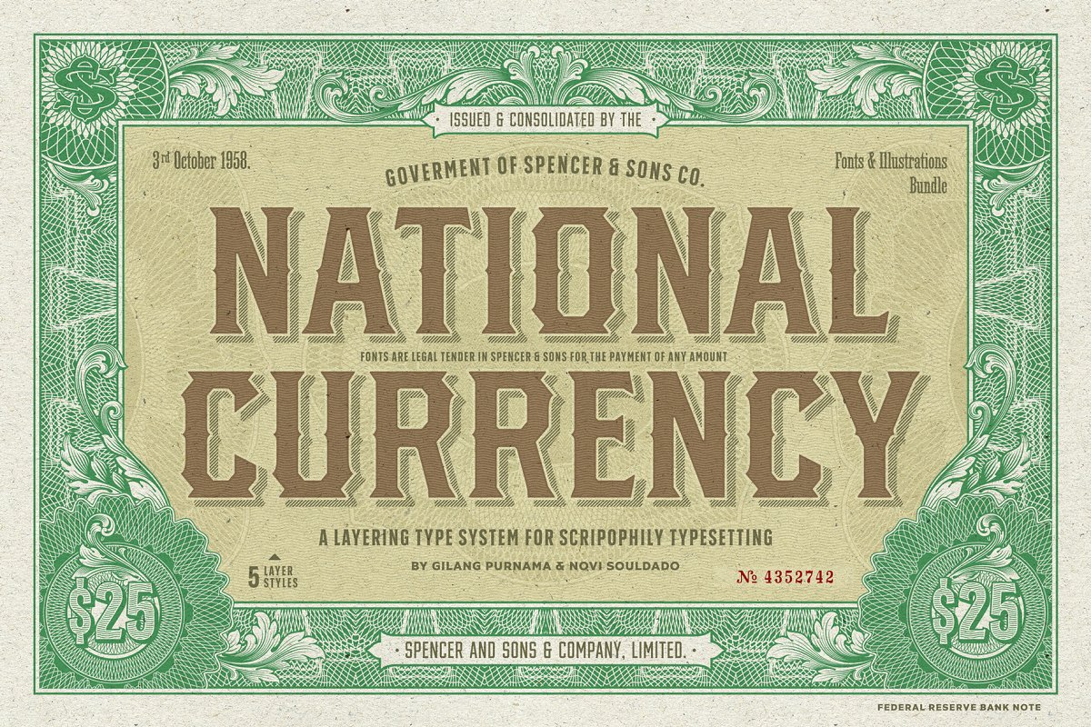 S&S National Currency Font Bundle
