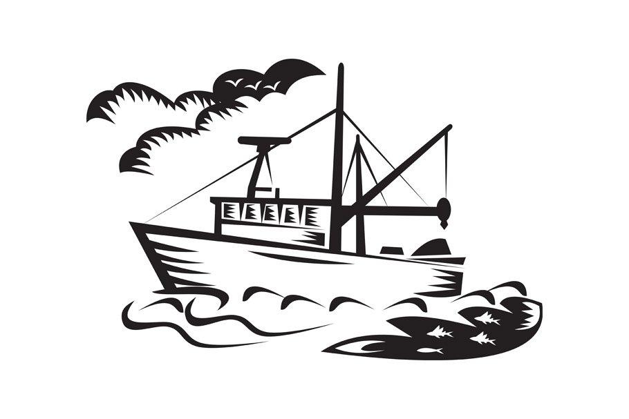 Download Commercial Fishing Boat Ship Sea Custom Designed Illustrations Creative Market