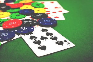 Poker chips and poker cards