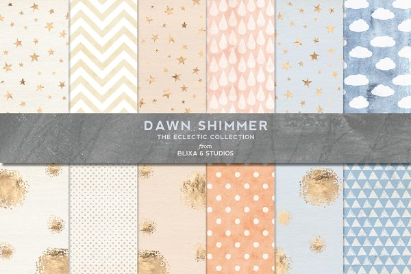 Shimmery Gold & Watercolor Patterns