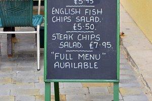English menu blackboard
