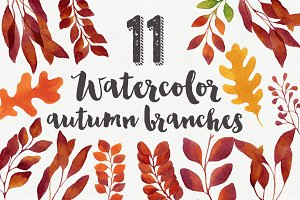 11 Watercolor Autumn Branches