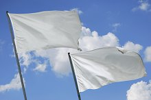 Two white flags waving on the sky