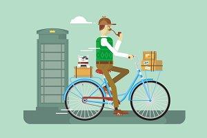 Retro postman on a bicycle