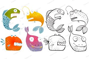 Colorful Fish Outline Cartoon