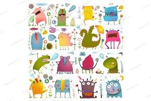 Fun Cute Cartoon Monsters Bundle