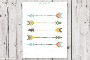 Five arrows tribal artwork pastel