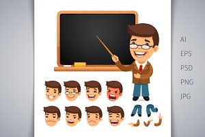 Set of Cartoon Teacher Character