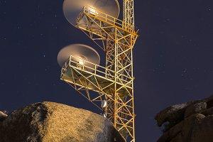 Communications antenna at night