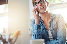 Office woman Talking on phone