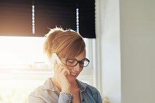 Female entrepreneur taking on Phone