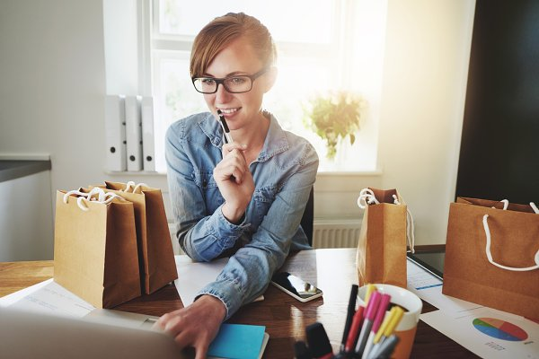 Young Woman Working at Home, Small…