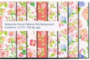 Watercolor Peony & Hydrangea Pattern