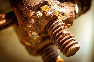 Rusty screw and nut