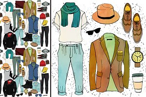 Fashion illustration clothing set.