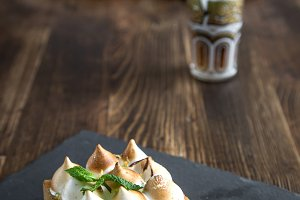 Cake with cream and mint