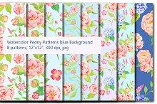 Peony Hydrangea Blue Pattern