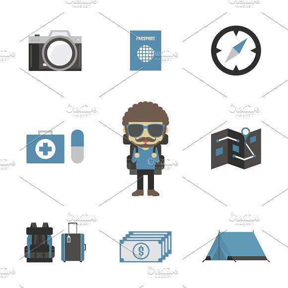 backpacker - Illustrations. backpacker - Illustrations - 1. set of  backpacker s equipment, isolated on white background b764b96a58