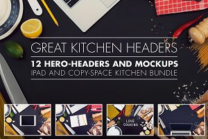 Kitchen hero headers and mockups