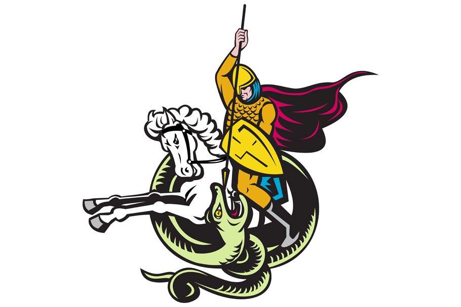 Knight Riding Horse Fighting Dragon