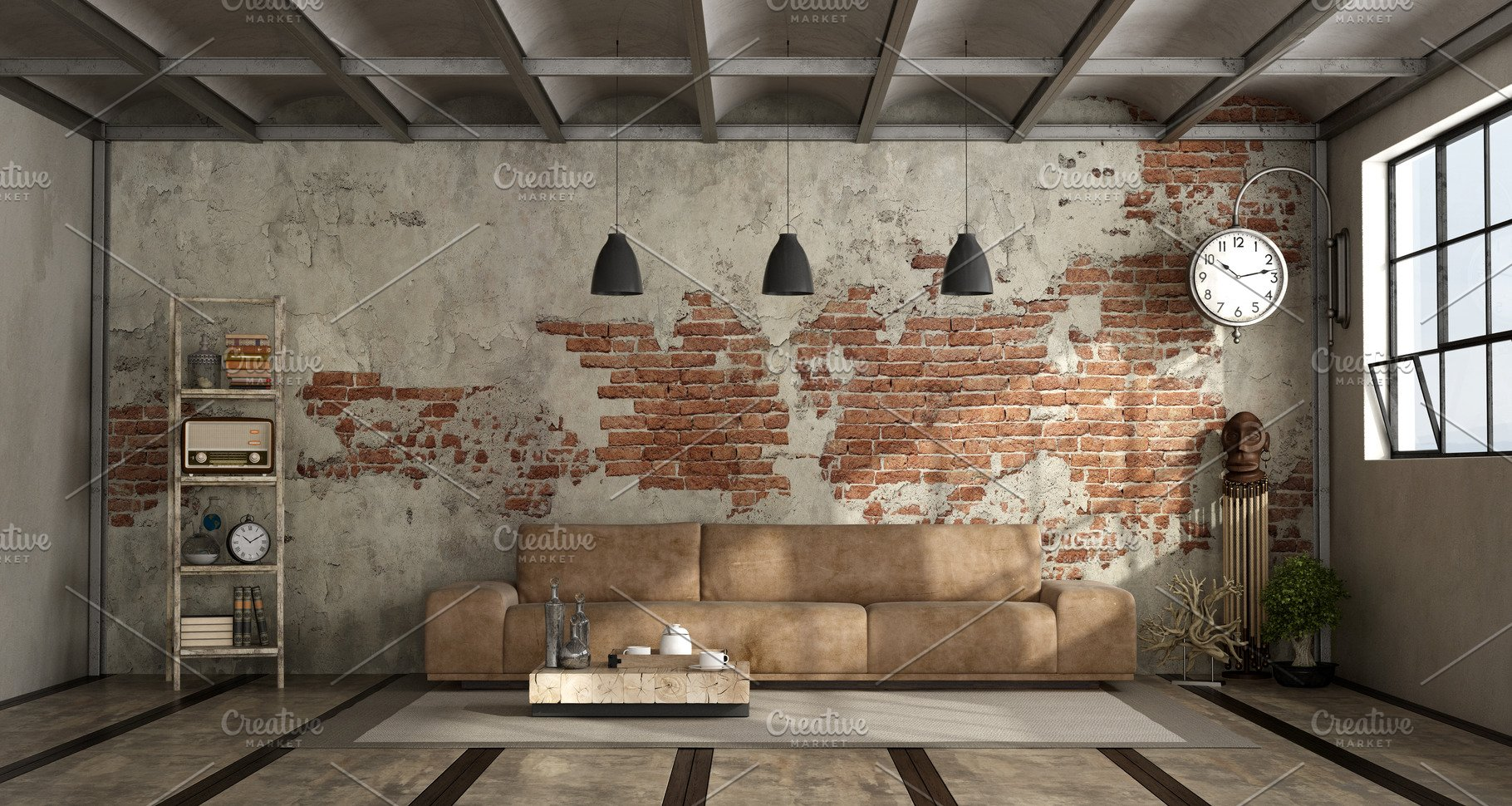 Save. Living room in industrial style