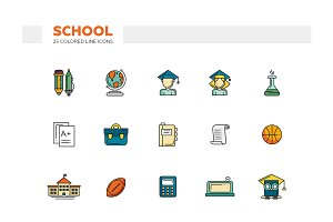 School. 25 Colored Line Icons Set