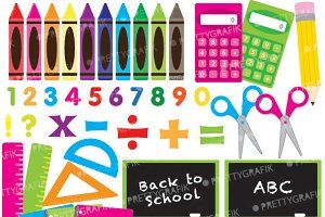 School supplies clipart commercial