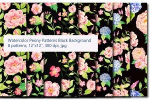 Peony and Hydrangea Black Pattern