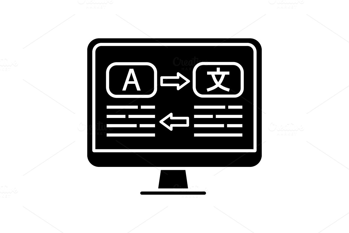 Language translation glyph icon