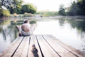 Summer vacation, friends at the lake