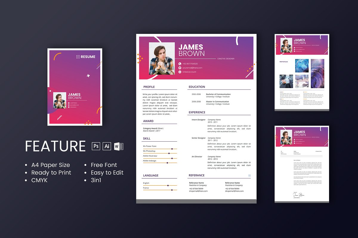 Professional CV And Resume Template in Resume Templates - product preview 8