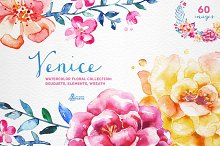 Venice. Watercolor floral collection