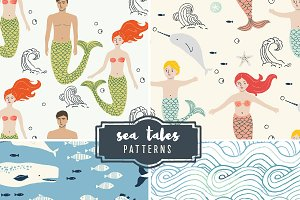 Sea Tales Patterns EPS