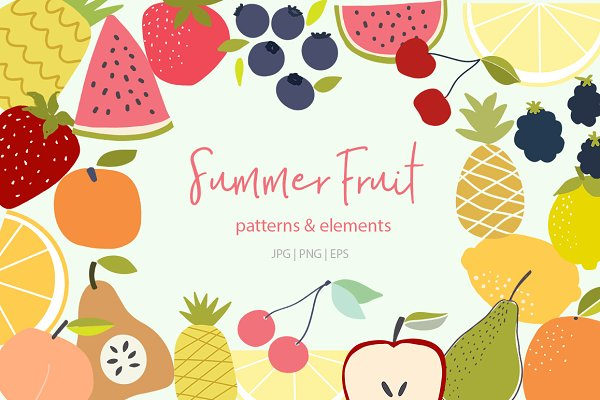 Graphic Patterns:  Sweet Fig - Summer Fruit Patterns and Elements